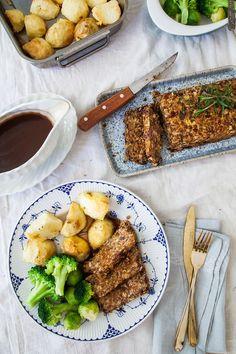 Lentil Roast with Balsamic Onion Gravy (Vegan + GF) via @wallfloweraimee