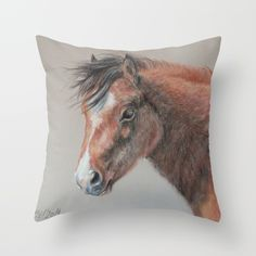 PONY horse portrait Throw Pillow by Canisart. #horse #pony #pillow #home #decoration #bedding #CanisArtStudio