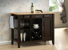 """Chefs Helper Espresso finish wood and natural finish top kitchen island cart 3 drawers and cabinet.  This cart features a casual style look , with 1 closed cabinet storage area and 3 slide out drawers, with a side towel rack , wine bottle storage and wine glass holders.  Measures 43.25"""" x 21.5"""" x 36"""" H.  Some assembly required."""