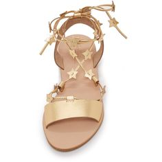 Loeffler Randall Starla Flat Sandals ($195) ❤ liked on Polyvore featuring shoes, sandals, flat shoes, lace up sandals, flat sandals, rubber sole sandals and loeffler randall sandals