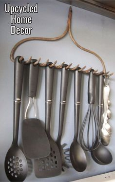 Upcycled Home Decor Ideas • Repurposed old rake into a kitchen untencil holder