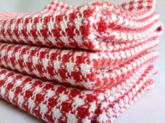 Two Red and White Houndstooth Dish Towels