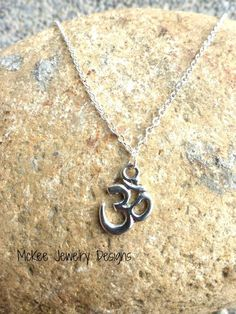 Sterling silver chain anklet, OHM silver charm (any size) McKee Jewelry Designs