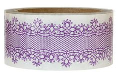 Purple lace packing tape—see my other pin with this tape—the candle embellishment is pretty❣ Wishy Washi