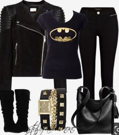 Batman inspired chic look Rock Outfits, Edgy Outfits, Fashion Outfits, Batman Shirt, Batman And Superman, Batman Stuff, Batman Dress, Looks Style, Style Me
