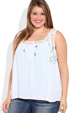 Deb Shops Plus Size Flowy Trapeze Tank Top with Square Crochet Neckline $23.00