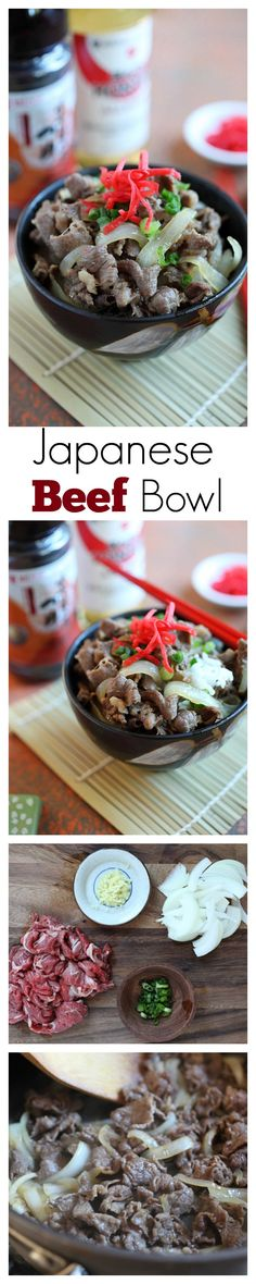 {Japan} Beef Bowl Gyudon - easy & delicious simmered beef with onion, soy sauce and rice. Takes 15 minutes to make | rasamalaysia.com