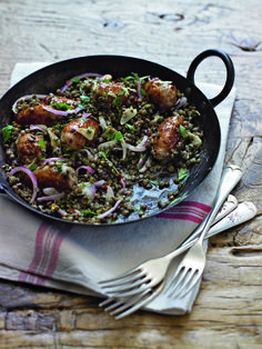 sausage dish uses green lentils, a great source of protein and an essential store cupboard ingredient.