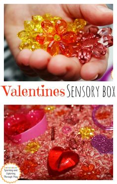 Valentines Sensory Box. Sensory Play. Hands on Learning. Learning and Exploring Through Play.