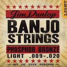 Dunlop DJP0920 Phosphor Bronze Banjo 5-String Light Set, .009-.020