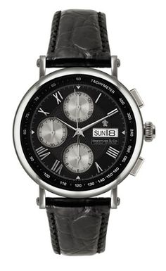 Dreyfuss, Valjoux Collection, This stunning men's chronograph model is an exquisite automatic chronograph that features the prestigious Valjoux movement. This stunning men's chronograph model is presented in a luxurious glass and oakwood automatic watch winding box.