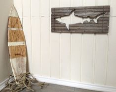 Shark Nautical Beach Art Dollhouse Miniature OOAK Pallet Wood by SmallScaleLiving, $16.00