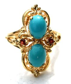ESTATE 14K YELLOW GOLD TURQUOISE & RUBY RING-SIZE 6.25-2.05ctw VINTAGE #Cocktail
