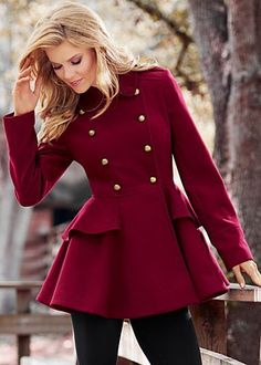 Beautiful raspberry peplum coat