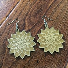 """Sacred Geometry """"Solar Seed"""" Earrings Laser Cut Wood Jewlery - Cerebral Concepts"""