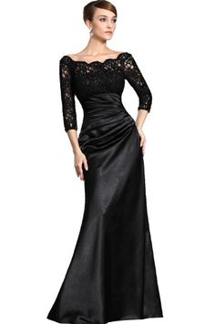 Grandmother/Mother of the Bride: formal dresses for women over 50 | Black Dresses With Long Sleeves For Women Over 50