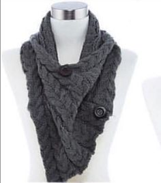 4bdecf36f2f6 Winter Button Accent Asymmetrical Infinity Scarf Gray Silver Black Buttons