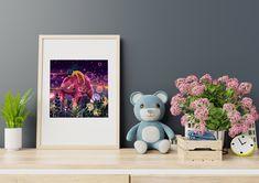 Bear and a Girl Art Print/ Giclée Print/ Illustration Print/ Wall Art Print/ Girly Print/ Children Print/ Bedroom Print/ Kids Room Decor/ Bedroom Prints, Wall Art Prints, Fine Art Prints, Oil Pastel Paintings, Kids Room Paint, Fairytale Art, Fish Art, Painting For Kids, Digital Illustration