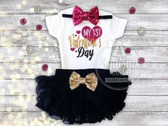 Valentines Day OutfitPERFECT for any little girl's Valentine's Day!This outfit includes:BODYSUIT: Adorned with a sparkly, adorable graphic, our glitter