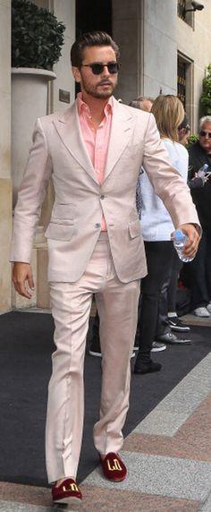 Scott Disick in Paris, in khaki hued suit  ~ Kimye's Wedding 5/24/14