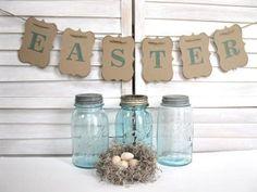 Easter Banner - Easter decoration - Aqua blue/green color. $12.00, via Etsy.