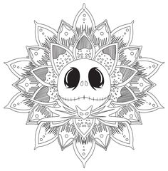 Jack Skellington Mandala - Mandalas Coloring Pages for Adults - Just Color Skull Coloring Pages, Printable Adult Coloring Pages, Disney Coloring Pages, Mandala Coloring Pages, Christmas Coloring Pages, Coloring Book Pages, Colouring, Coloring Sheets, Coloring Pages For Adults