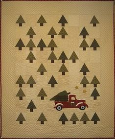 Buttermilk Basin's Vintage Tree Farm Quilt-pattern for purchase Christmas Tree Quilt, Christmas Quilt Patterns, Christmas Sewing, Christmas Car, Xmas, Christmas Quilting, Christmas Embroidery, Small Quilts, Mini Quilts