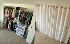 Break out the walls on the closet and cover the whole opening with curtains