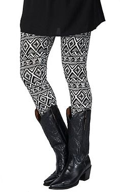 Angie® Women's Black and White Aztec Legging | Cavender's