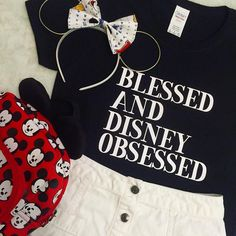 Blessed and Disney obsessed disney parks black by SunshineWithJess Disney Diy, Cute Disney, Disney Dream, Disney Shirts, Disney Style, Disney Magic, Disney Christmas Shirts, Disneyland Outfits, Disney Inspired Outfits