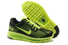 Nike Air Max +2013 Coussin Chaussures De Course Des Hommes Black / Neon Green