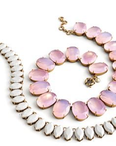 APR '15 Style Guide: J.Crew women's teardrop stone and iced quartz necklaces.