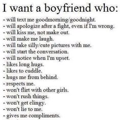 What I want in a guy