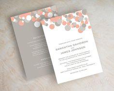 Peach and grey polka dot wedding invitation, peach and gray wedding invitations…
