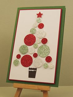 Stampin' Up! ... handmade Christmas card ... Zsm Glimmer X-mas Tree ... punched circles of white, silver and red glimmer paper for a mod tree ... like the thick/thin matting ... fun card!