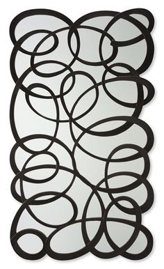 Curvy line  This is a fabulous, dramatic hand carved mirror frame, one continuous flow of carved engineered wood forming a myriad of curves, circles, ovals and kites. Simply marvellous! Also available without glass (46-0188)  50-2894