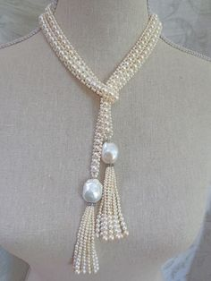 Intricate Woven Pearl Long Sautoir with Large Baroque Pearl Tassels - Fabulous Flapper Style Long Pearl Double Tassel Necklace Pearl Necklace Designs, Diy Jewelry Necklace, Bead Jewellery, Pearl Jewelry, Bridal Jewelry, Jewelry Crafts, Tassel Necklace, Jewelery, Handmade Jewelry