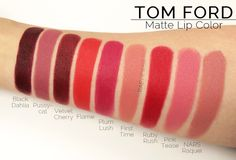 veronicabey: If I ever get a Tom Ford lipstick better believe I'm not buying any that has a sheer finish Lipstick For Fair Skin, Lipstick Art, Lipstick Colors, Lipstick Swatches, Makeup Swatches, Lipstick Dupes, Matte Lipsticks, Mac Eyeshadow, Matte Lip Color
