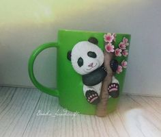 Polymer clay decorated mug. Cute panda.Handmade decorated