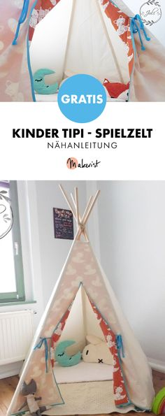 Free instructions for a children's teepee / play tent as a retreat or for shipping . Free instructions for a children's teepee / play tent as a retreat or for hiding - free sewing jugendliche mädchen Diy Tipi, Boy Room, Kids Room, Childrens Teepee, Teepee Play Tent, Daycare Crafts, Baby Bassinet, Toddler Rooms, Sewing Projects For Beginners