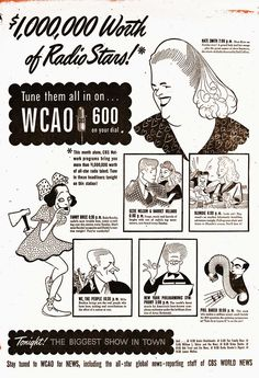 """Al Hirschfeld ~ CBS WCAO 600 Radio ad: Kate Smith, Fanny Brice in """"Baby Snooks"""", Ozzie Nelson & Harriet Hilliard, Penny Singleton & Arthur Lake in """"Blondie"""", Milo Boulton in """"We, the People"""", Artur Rodzinski, and Phil Baker in """"Take It or Leave It"""" Vintage Advertisements, Vintage Ads, Penny Singleton, Kate Smith, Old Time Radio, Lp Cover, Black And White Portraits, Back In The Day, Pop Culture"""