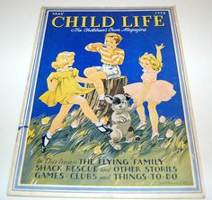 1938 vintage Spring cover art for Child Life Magazine (May edition). Illustrator is Janet Laura Scott. Illustration is of three children and a dog.