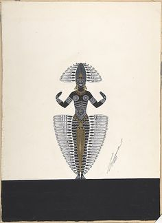 """Costume Design Outlined in Feathers for """"Ballet Africain,"""" George White's Scandals, New York Erté (Romain de Tirtoff) (French (born Russia), St. Petersburg Paris) Date: 1924 Medium: Gouache and metallic paint Classification: Drawings Art Deco Artwork, Erte Art, Romain De Tirtoff, Art Deco Artists, African Dance, Art Deco Fashion, Vintage Fashion, French Artists, Metallic Paint"""