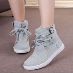 Change your usual shoe style with canvas lace up ankle boots. These offers comfort and style that you will surely adore. Great paired with punk shorts and tops. This ankle boot combines lace up, buckl