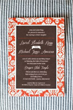 Fancy orange and brown wedding invite by Polka Dot