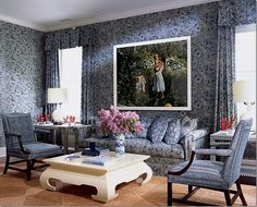 Estee Lauder's Hampton's house he used a batik to cover everything.  by Mark Hampton