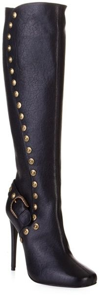 Roberto Cavalli Black Leather Stud Knee High Boots in Black