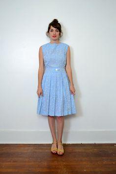 1950s Blue Gingham and Flower Dress // Medium // by SpanoVintage, $49.00