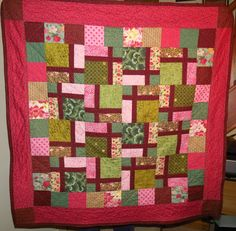 """Mum's 92rd Birthday Present - Centre Block is a disappearing 9 patch patchwork quilt with sashing before cutting & swivelling each 9 patch block to ensure no 2 fabrics or shapes met. Then added a row of squares and a border - Finished quilt approx. 50 x 50"""""""