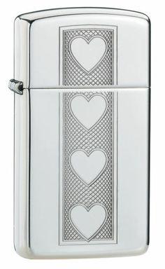 Slim Engraved Hearts High Polish Chrome Zippo Lighter #28476